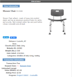 Item Details Page for a Shower Chair