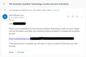 Email with activation link